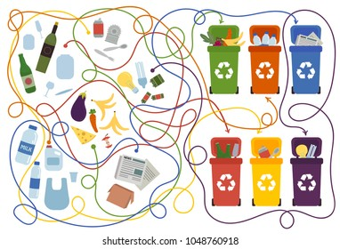 Recycling maze for kids and adults with a solution. Labyrinth game to find way of waste to proper container. Eco and environment friendly education. Connect recycle can and garbage puzzle. Vector flat