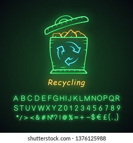 Recycling neon light icon. Environmental sustainability. Trash sorting. Plastic, paper garbage utilization. Wastebasket. Glowing sign with alphabet, numbers and symbols. Vector isolated illustration