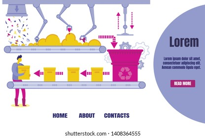 Recycling Plant Banner Vector Illustration. Factory for Waste Disposal. Machine or Conveyor with Grippers Carrying Garbage in Landfill. Cartoon Man Holding Boxes with Sorted Rubbish.