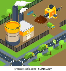 Recycling plant isometric poster of territory with factory sorting line and trucks for deliver vector illustration