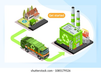 Recycling plant and waste truck, isometric truck caring waste. Can use for web banner, infographics, hero images. Flat isometric vector illustration isolated on generic background.