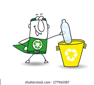 Recycling a plastic bottle with Joe. Recycle-Man the superhero recycles a plastic bottle in a specific trash