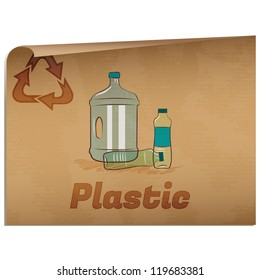 recycling plastic memoretro recycling banner with plastic bottles