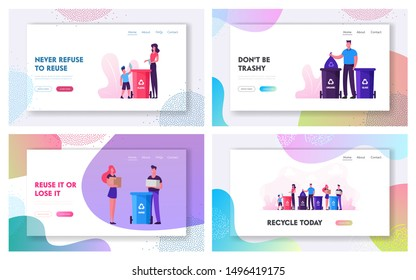 Recycling Pollution and Ecology Protection Website Landing Page Set. People Throw Garbage to Containers with Recycle Sign, Collecting Trash to Bins Web Page Banner. Cartoon Flat Vector Illustration