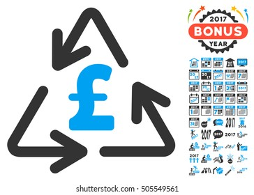 Recycling Pound Cost icon with bonus 2017 new year pictures. Vector illustration style is flat iconic symbols,modern colors.