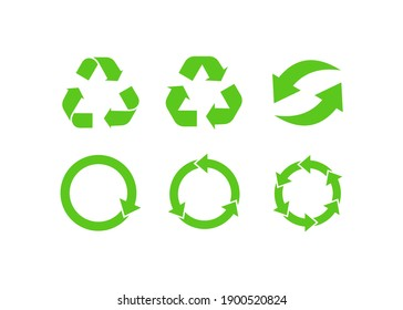 Recycling and rotation arrow icon set. icon flat vector