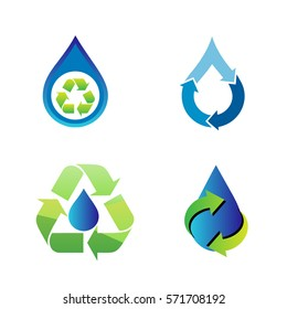 recycling and save water sets of logo in vector format