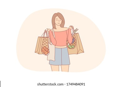 Recycling, shopping, ecology, food, zer waste concept. Young woman or girl cartoon character standing ecological bags with foodstuff. Care about environment eco friendly sorting garbage and recycling.