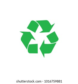 Recycling sigh, icon. Vector flat illustration. Green on white background.