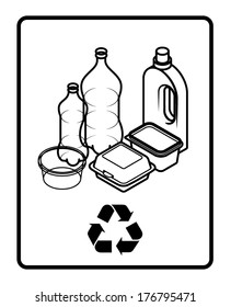 Recycling sign with an arrangement of plastic containers, bottles and tubs.