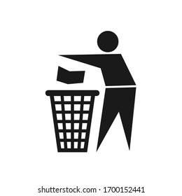 Recycling sign icon, vector illustration. Trash icon.  Rubbish icon.