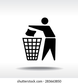 Recycling sign icon, vector illustration. Flat design style