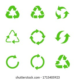 Recycling symbol of ecologically pure funds, set of arrows, green vector collection vector image.