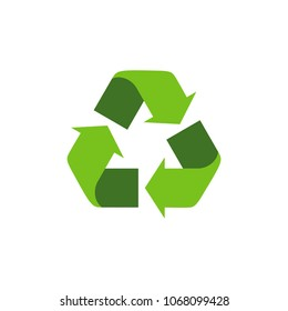 Recycling symbol with green arrows. Isolated recycle icon on the white background. Earth Day universal international symbol. Flat style. Vector Illustration.