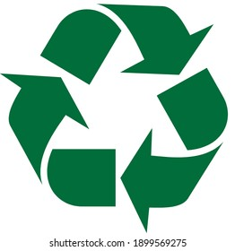 recycling symbol. Green recycle vector icon. Recycle Symbol, Isolated On White Background. 3 arrows