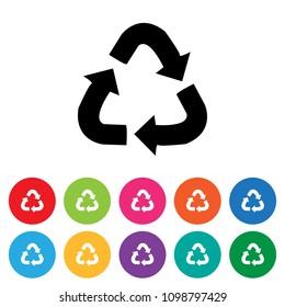 Recycling symbol icon set
