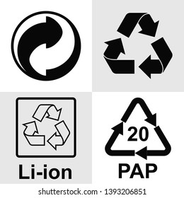 Recycling symbol. It means that plastic, paper, wood and cardboard products  can be completely recycled into new ones. Set of vector icons.  Internationally recognized universal recycling symbol.