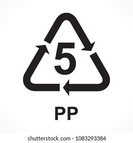 Recycling Symbols number 5 PP, vector