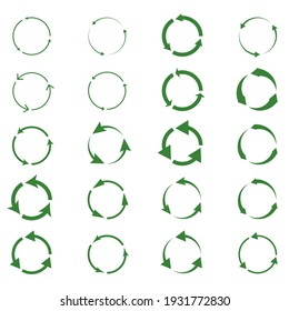 Recycling vector icons bio reuse package label templates. Green eco recycle arrow in green circle. Green circle arrow, reuse bio recycle sign. Recycling, Recyclable plastic free package icon template