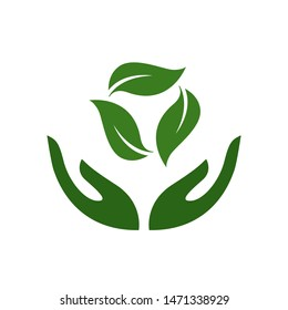 Recycling and waste reduction. Icon of hands carefully holding green leaves. Symbol of ecology, environmental awareness, nature protection concept. Vector Illustration. Plant in hand