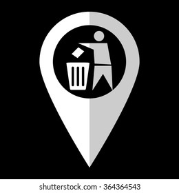 Recycling - white vector icon;  map pointer