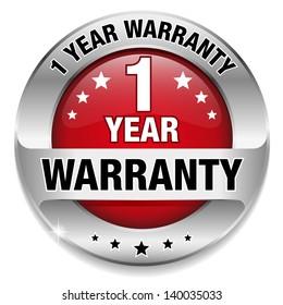 Red 1 year warranty button