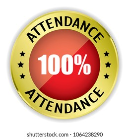 Red 100% Attendance badge with gold border on white background.vector illustration