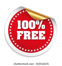 Red 100 Percent Free Sticker With Gold Peel
