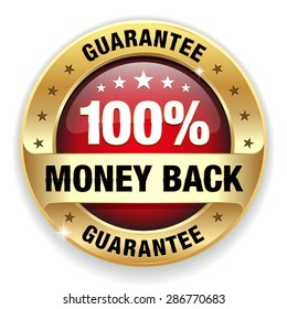 Red 100 percent money back badge with gold border on white background