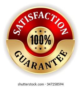 Red 100 percent satisfaction badge with gold border