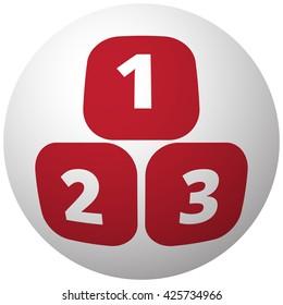 Red 123 Blocks icon on white ball