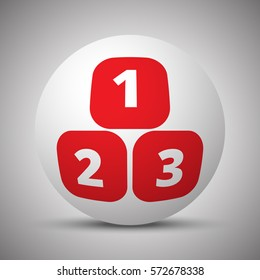 Red 123 Blocks icon on white sphere