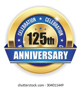Red 125th anniversary badge with gold border and ribbon on white background