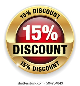 Red 15 percent discount button, badge with gold border on white background