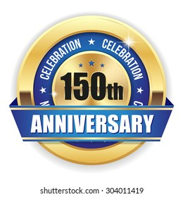 Red 150th anniversary badge with gold border and ribbon on white background