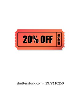 Red 20% off ticket icon. Useful for your discount, promotions, coupons and advertisement. - Vector
