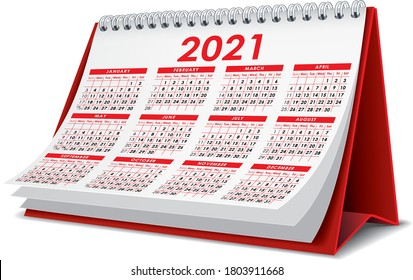Red 2021 3D desktop calendar in white background