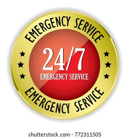 Red 24/7 Emergency service badge with gold border on white background.vector illustration