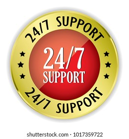 Red 24/7 support badge with gold border on white background.vector illustration