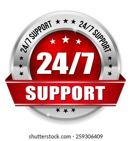 Red 24/7 support badge with ribbon and silver border on white background