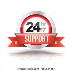Red 24hr/7 support with clock scale badge. Vector illustration.