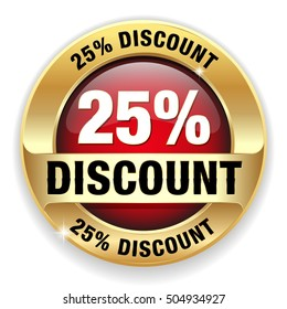 Red 25 percent discount button, badge with gold border on white background