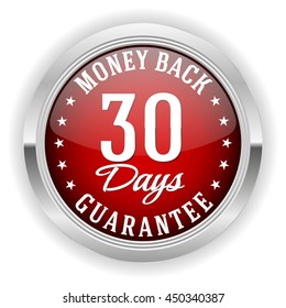 Red 30 days money back button, badge with silver border on white background