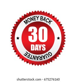 Red 30 days money back,guarantee badge, button with silver border.vector illustration