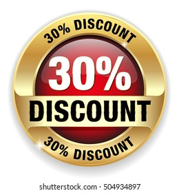 Red 30 percent discount button, badge with gold border on white background