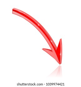 Red 3d arrow. Vector illustration isolated on white background