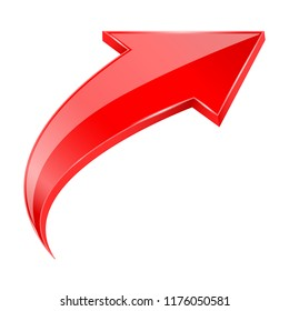 Red UP 3d arrow. Vector illustration isolated on white background