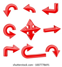 Red 3d arrows. Different directions. Vector illustration isolated on white background