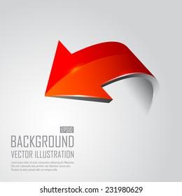Red 3d arrows. Vector illustration