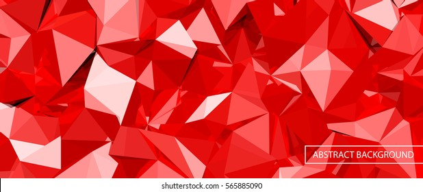 red 3D crystal glass with reflections, abstract vector background
